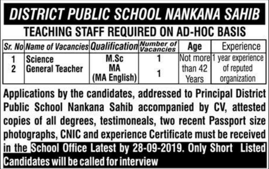 District Public School DPS Nankana Sahib Jobs 2019