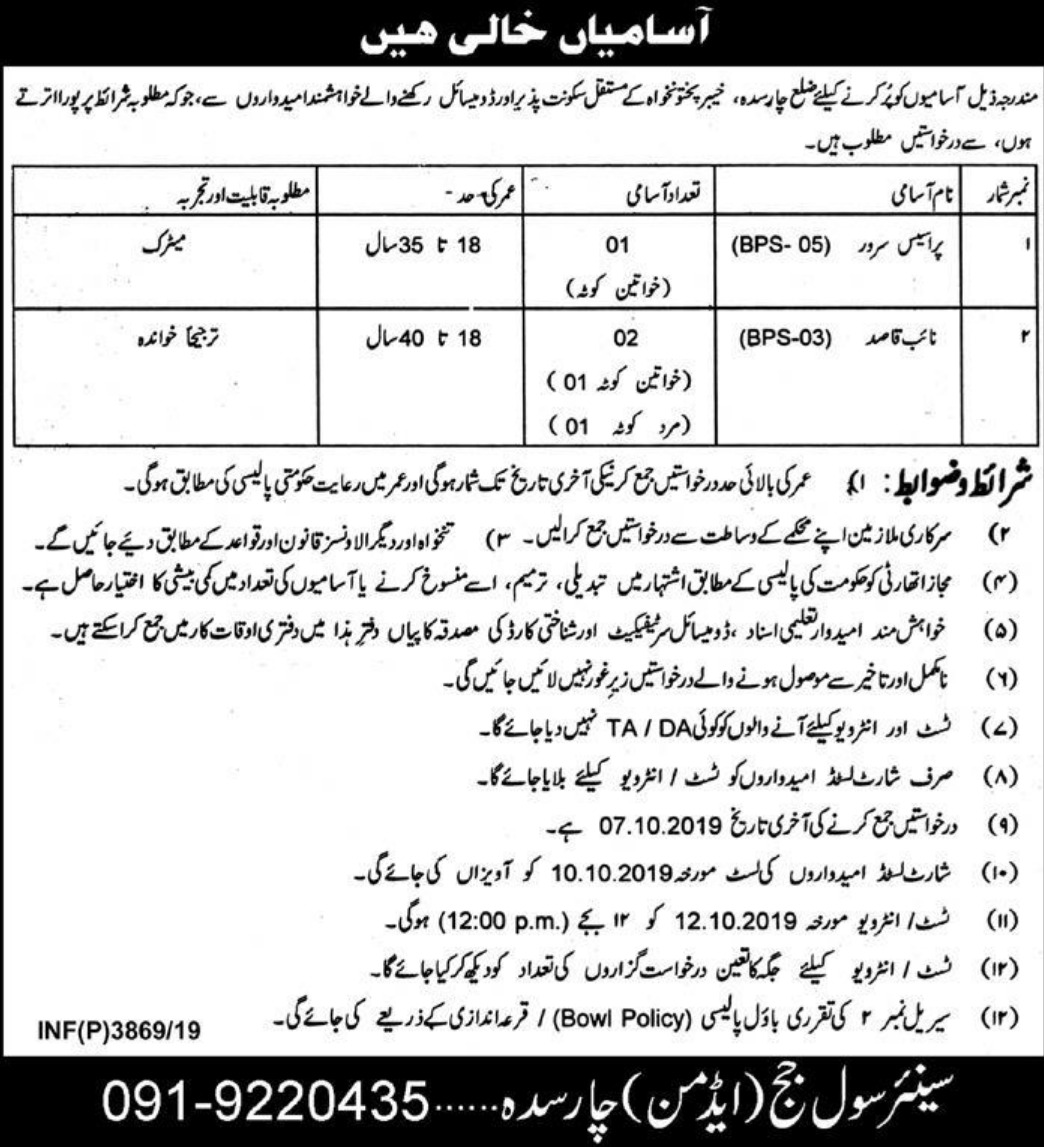 District & Session Court Charsadda Jobs 2019 KPK