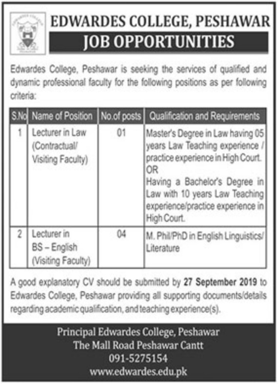 Edwardes College Peshawar Jobs 2019 KPK