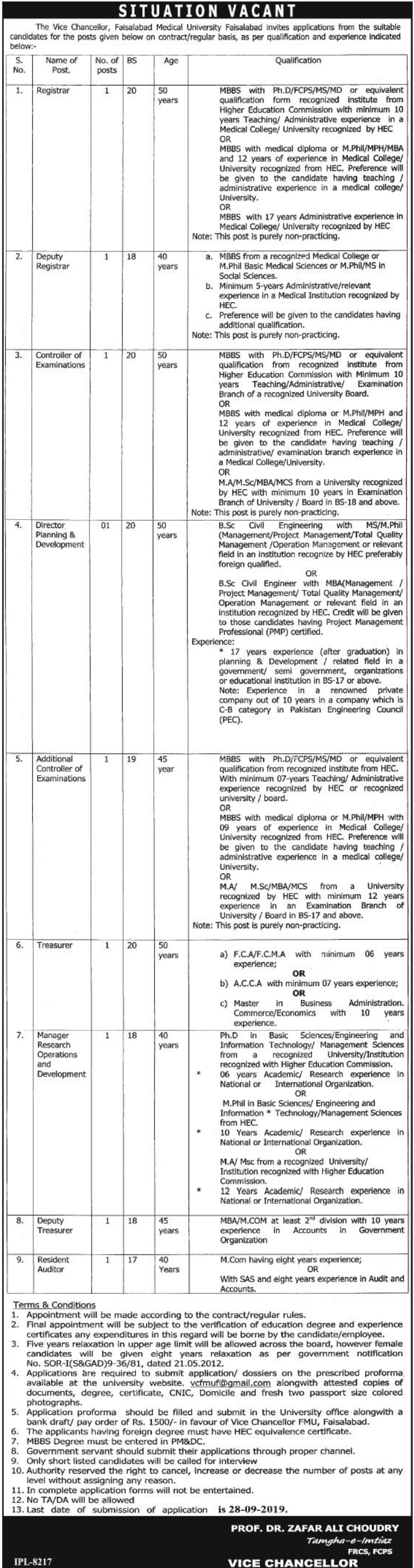 Faisalabad Medical University Jobs 2019 Application Form