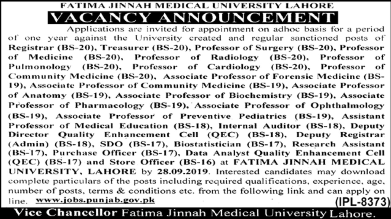 Fatima Jinnah Medical University FJMU Jobs 2019 Apply Online