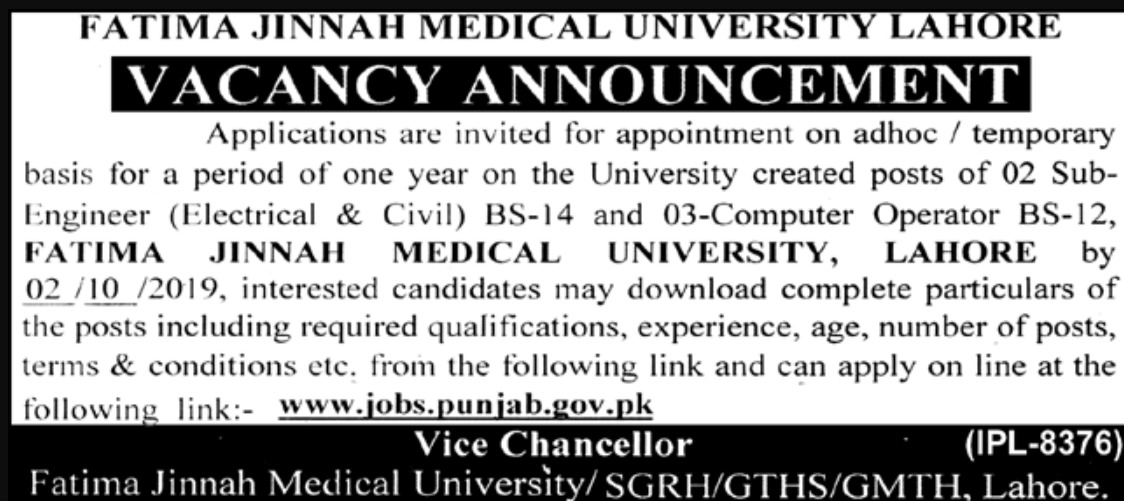 Fatima Jinnah Medical University FJMU Lahore Jobs 2019 Apply Online
