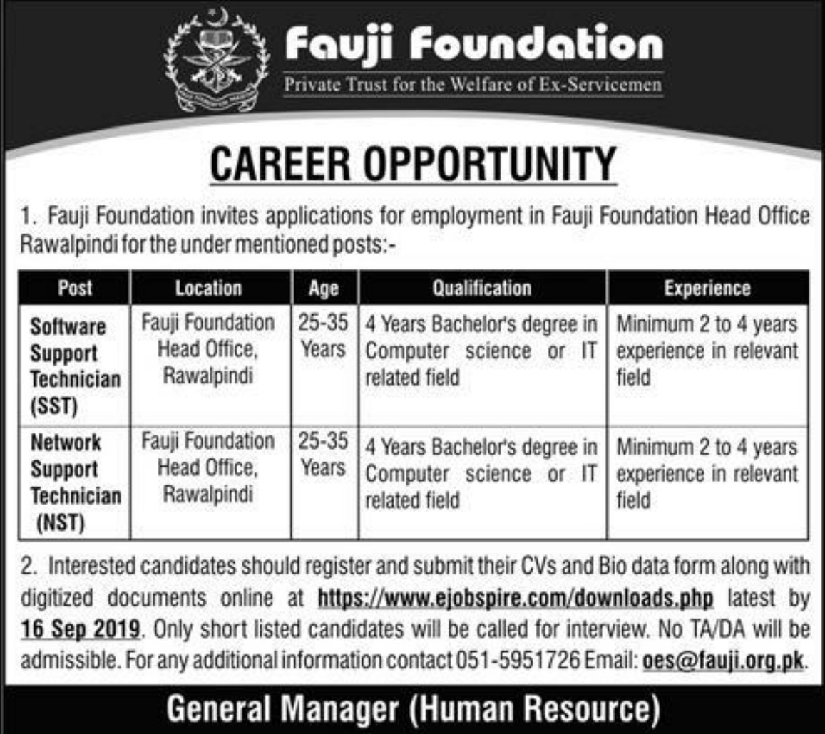 Fauji Foundation Jobs 2019 Rawalpindi Pakistan