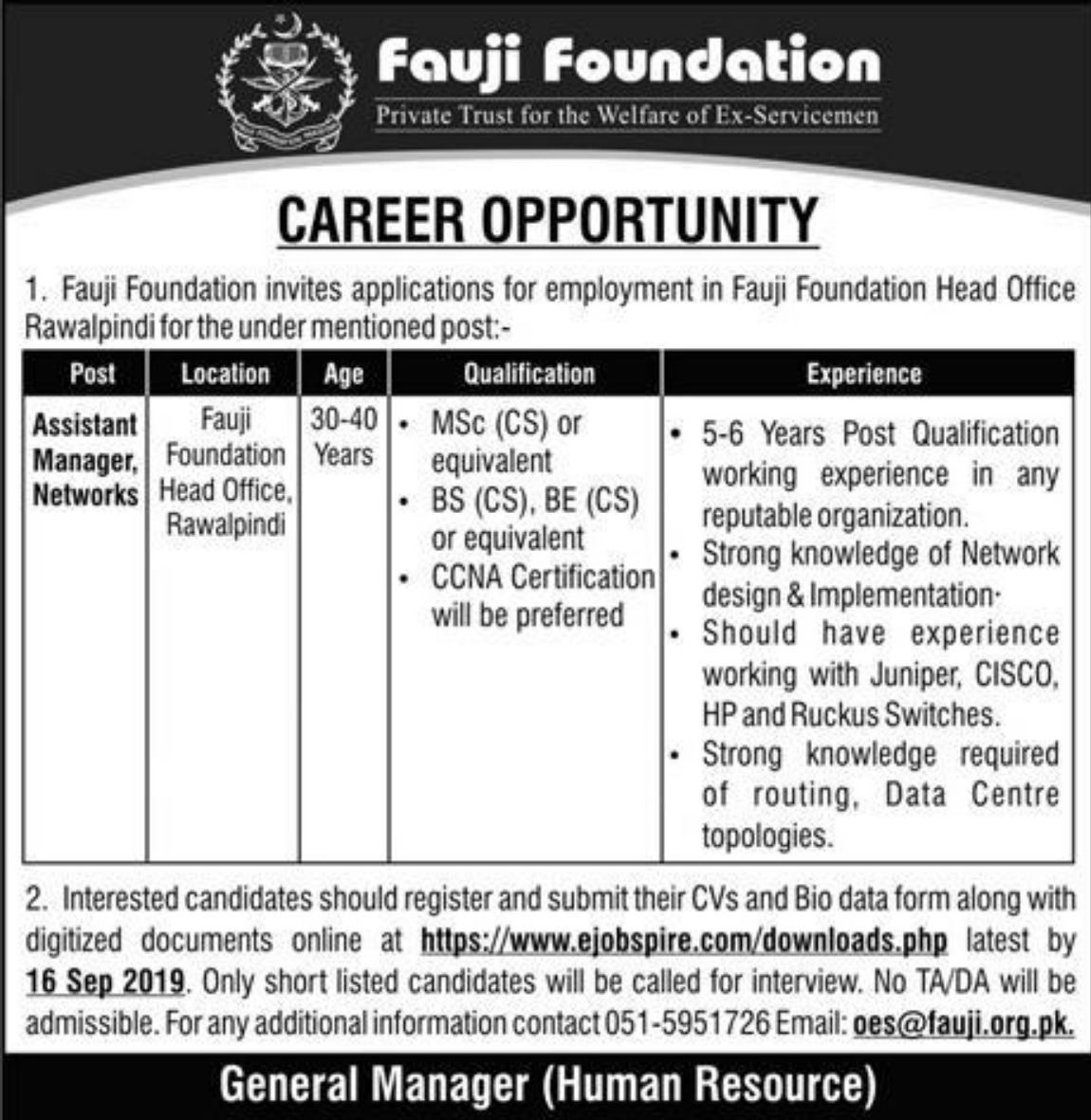 Fauji Foundation Rawalpindi Jobs 2019