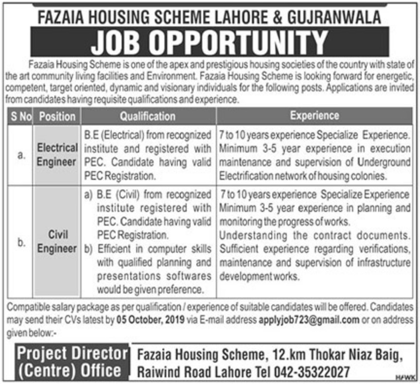 Fazaia Housing Scheme Lahore & Gujranwala Jobs 2019