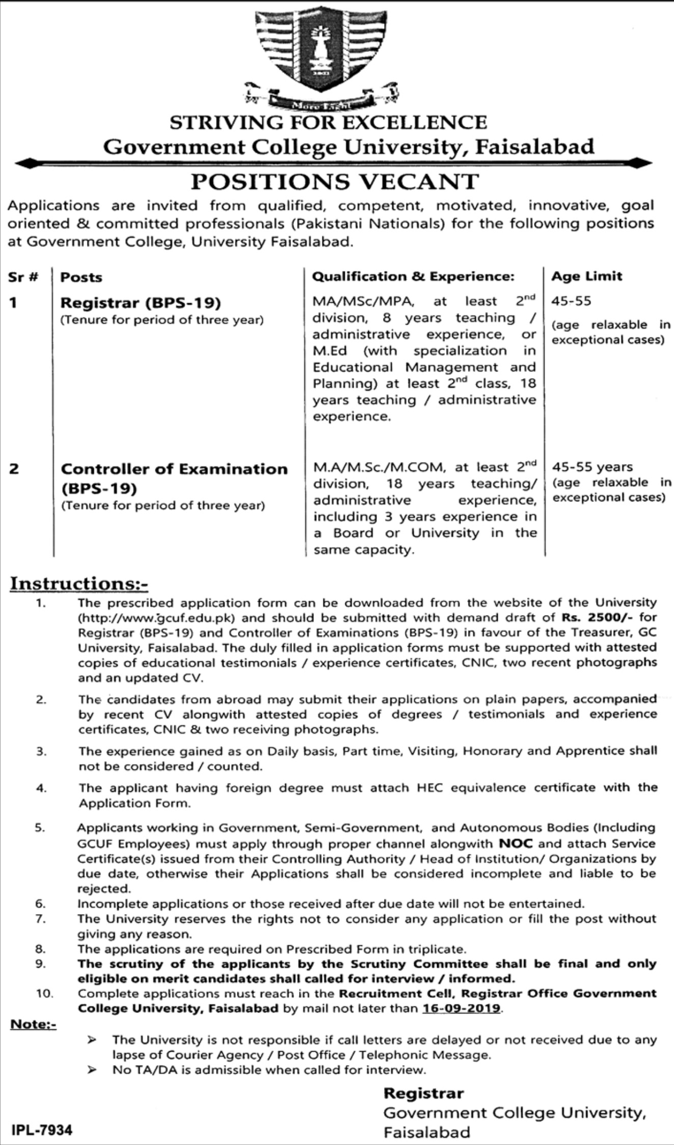Government College University GCU Faisalabad Jobs 2019 Application Form