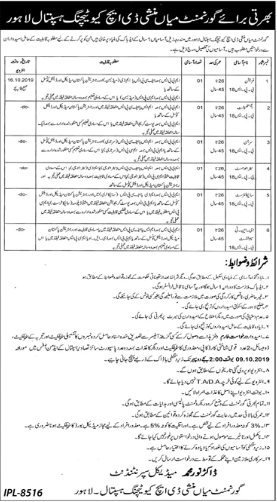 Government Mian Munshi DHQ Teaching Hospital Lahore Jobs 2019