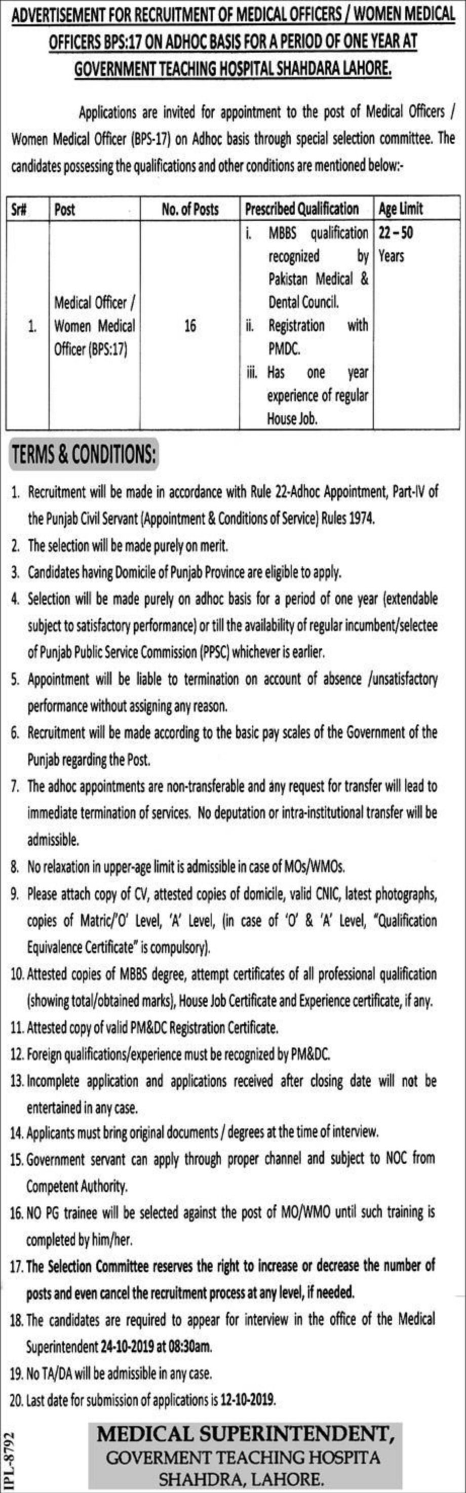 Government Teaching Hospital Shahdara Lahore Jobs 2019