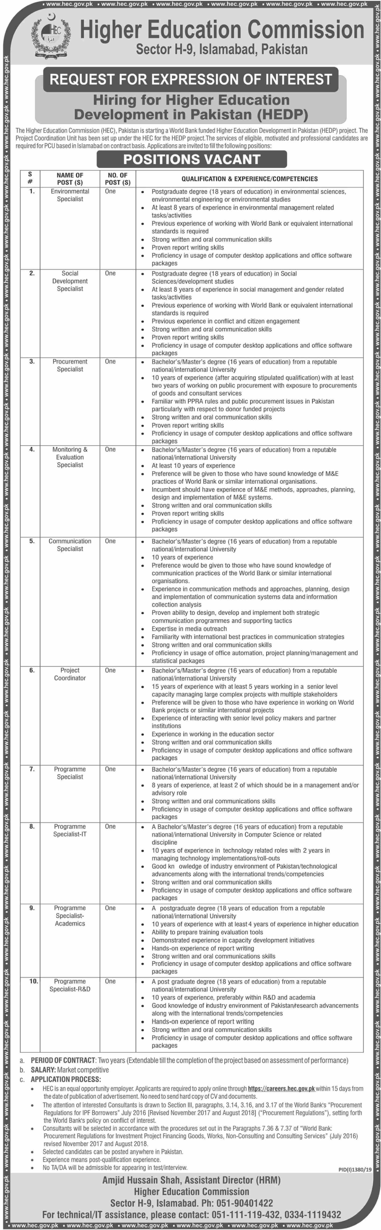 HEC Jobs 2019 Higher Education Commission Islamabad