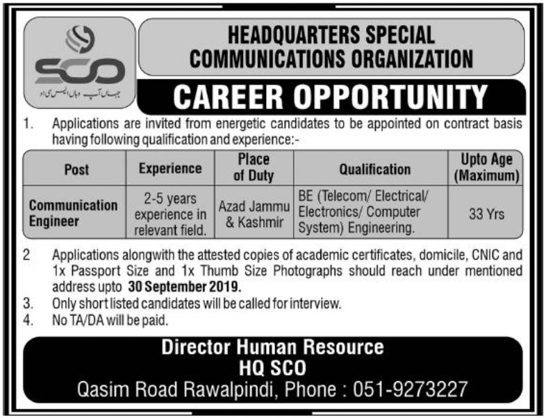 Headquarters Special Communications Organization HQ SCO Jobs 2019