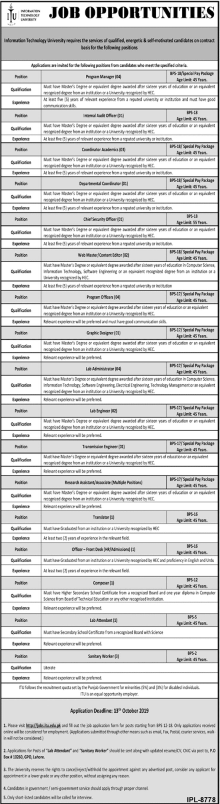Information Technology University Jobs 2019