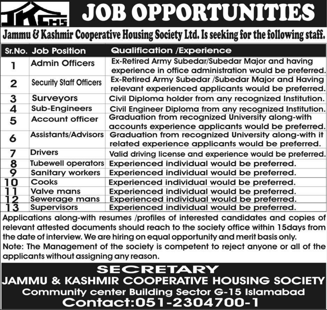 Jammu & Kashmir Cooperative Housing Society Ltd Jobs 2019