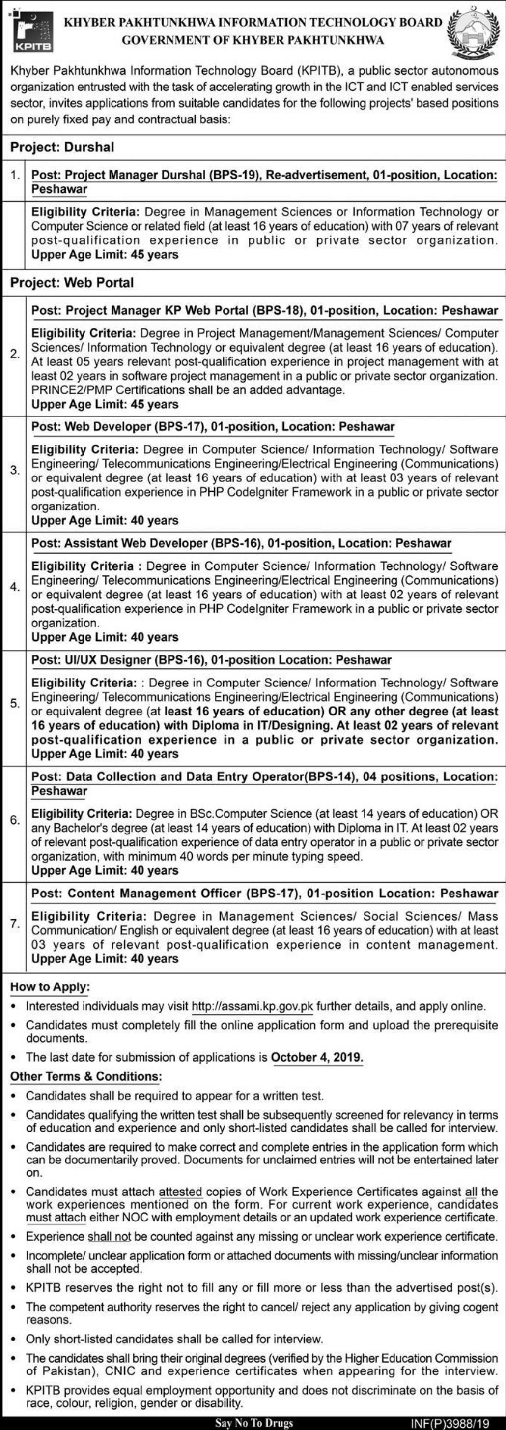Khyber Pakhtunkhwa Information Technology Board KPITB Jobs 2019 Online Apply