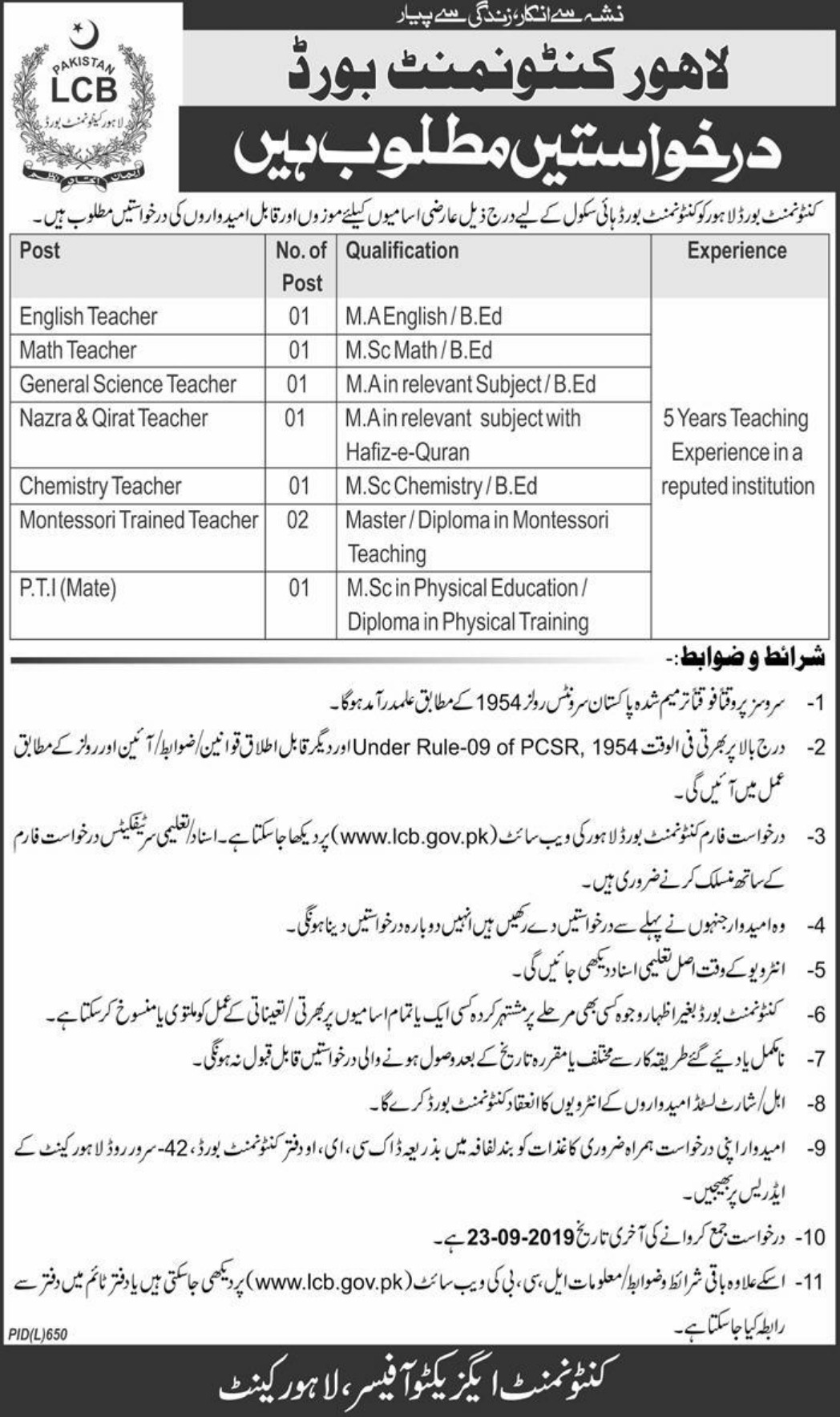 Lahore Cantonment Board LCB Jobs 2019