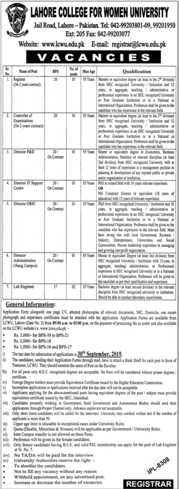 Lahore College for Women University LCWU Jobs 2019 Download Application Form