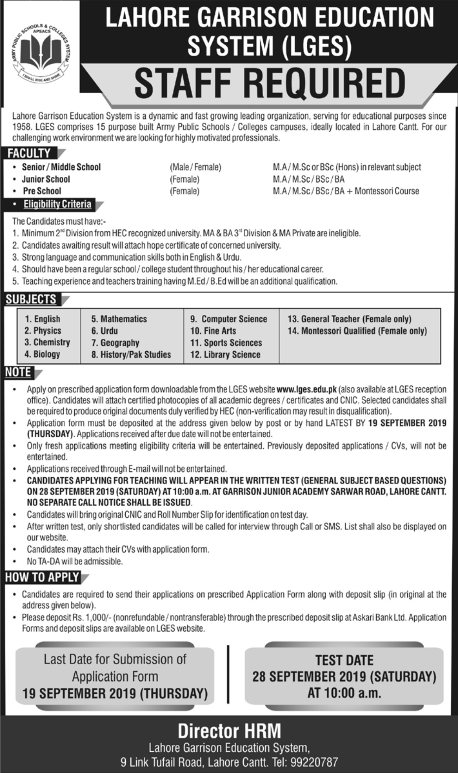 Lahore Garrison Education System LGES Jobs 2019 Application Form