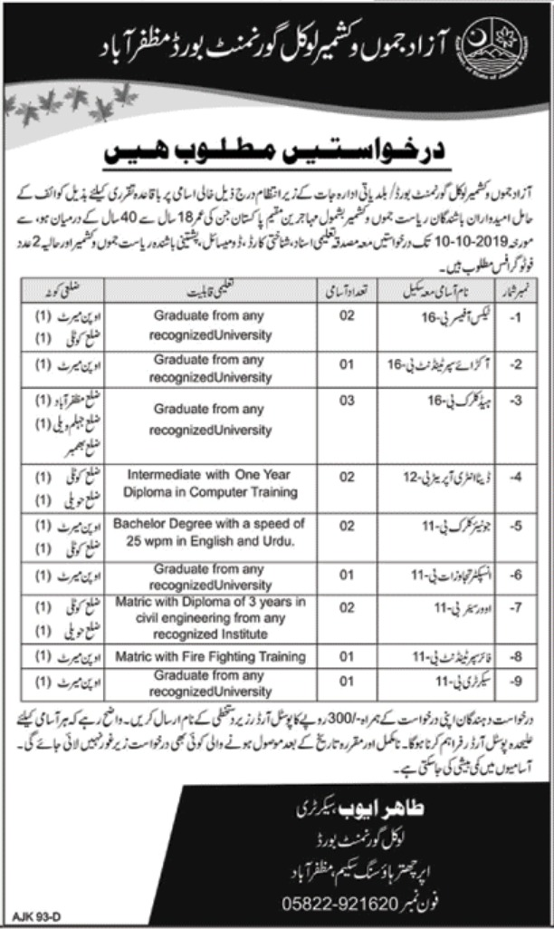 Local Government Board Muzaffarabad AJK Jobs 2019