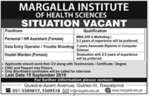 Margalla Institute of Health Sciences Rawalpindi Jobs 2019