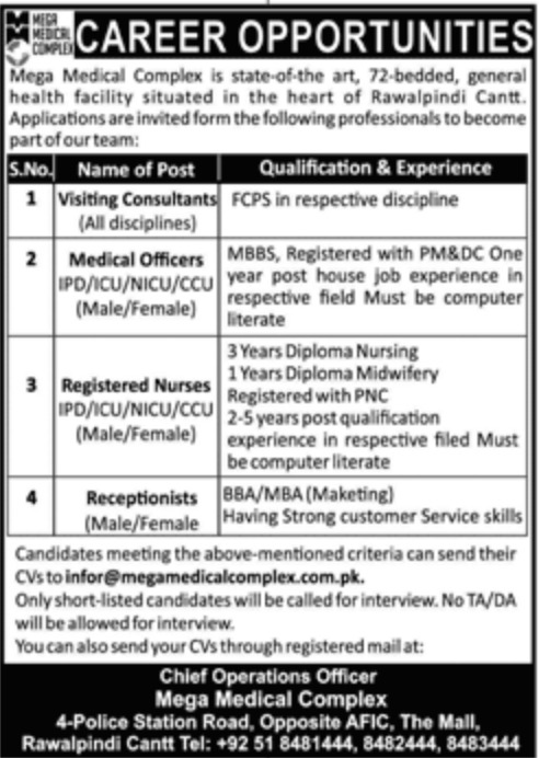 Mega Medical Complex Rawalpindi Cantt Jobs 2019
