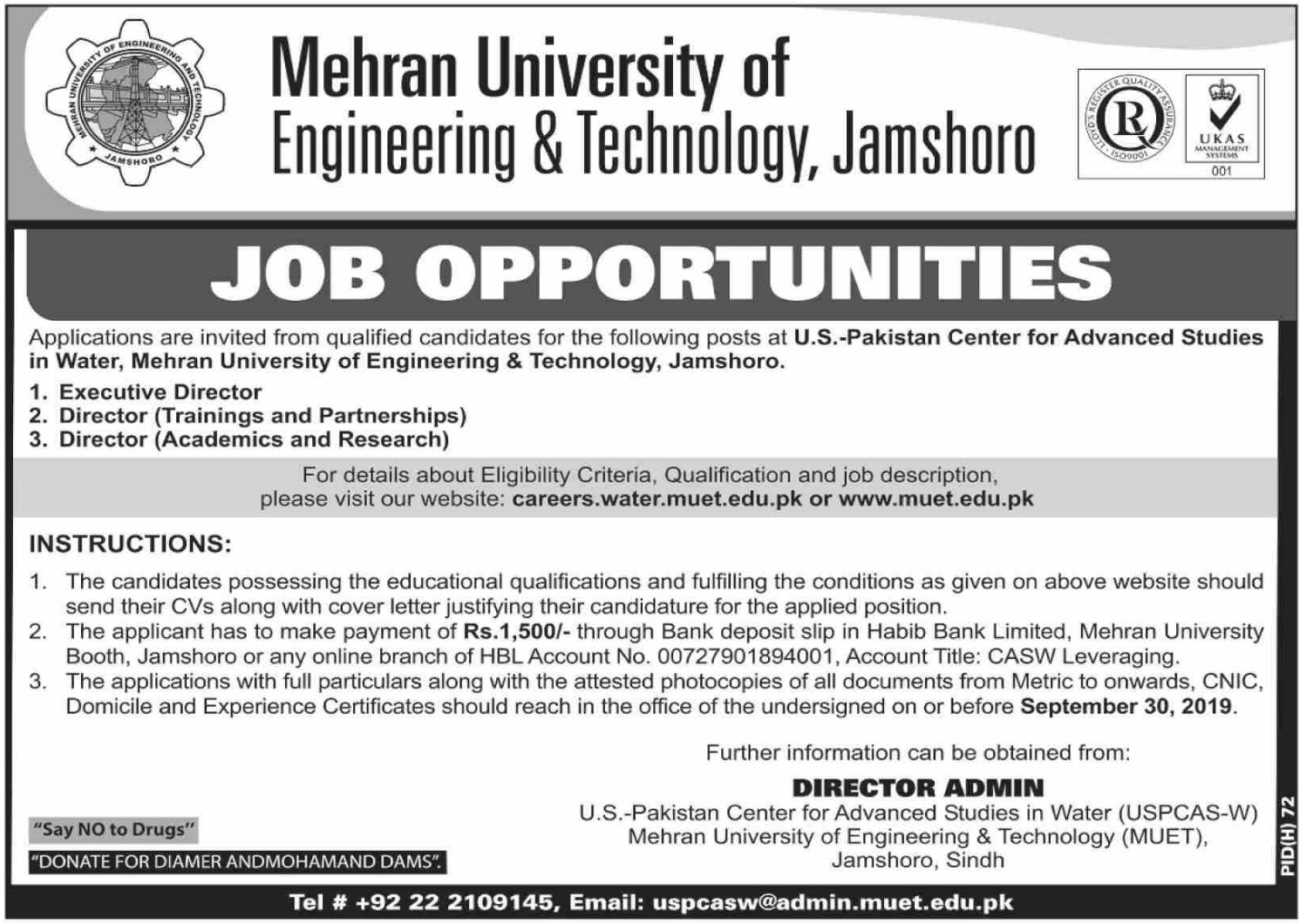 Mehran University of Engineering & Technology MUET Jobs 2019 Jamshoro Sindh