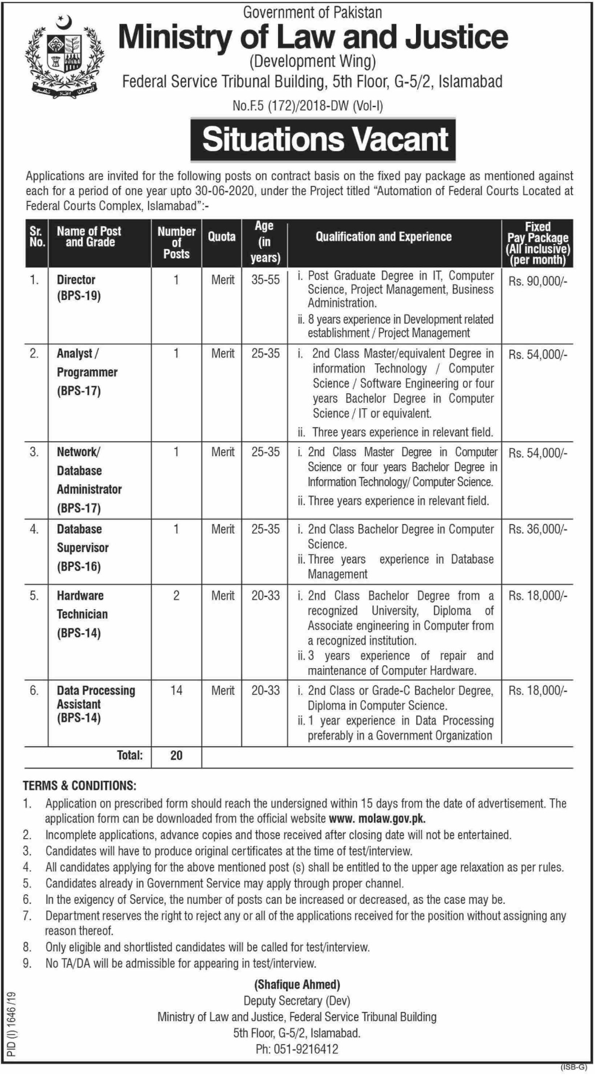 Ministry of Law & Justice Jobs 2019