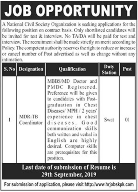 National Civil Society Organization NGO Jobs 2019 Swat