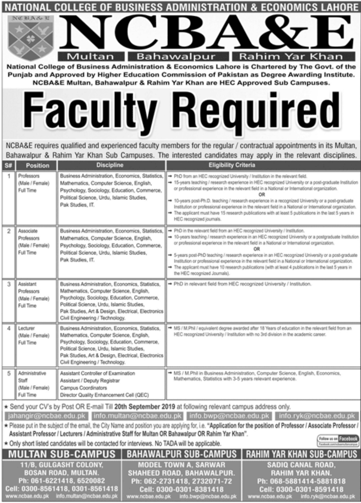 National College of Business Administration & Economics NCBA&E Jobs 2019