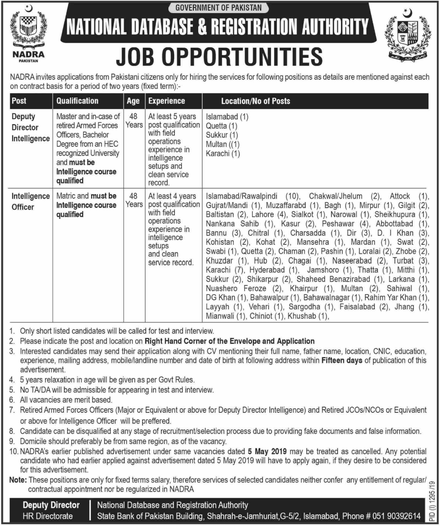 National Database & Registration Authority NADRA Jobs 2019 Pakistan