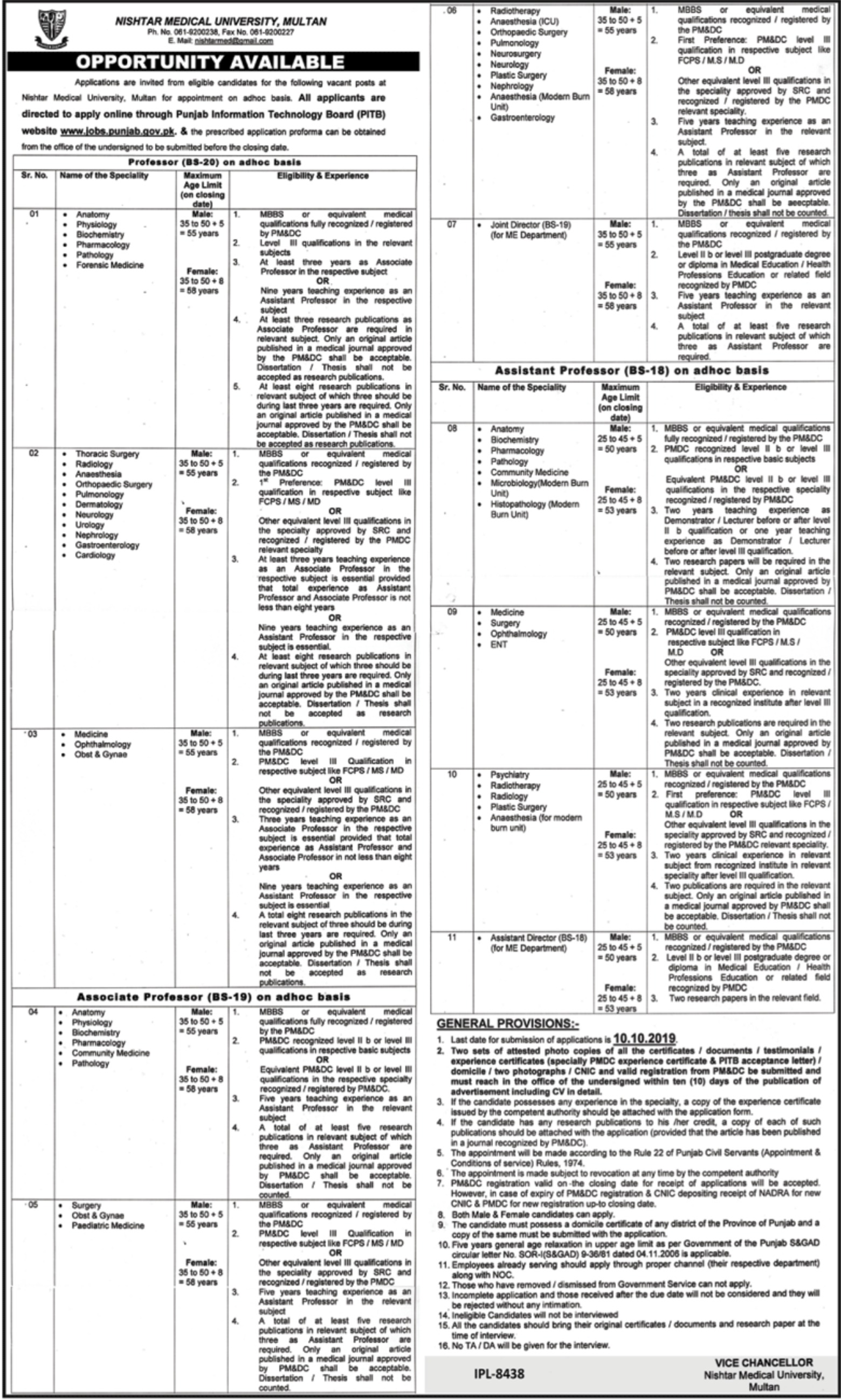 Nishtar Medical University Multan Jobs 2019
