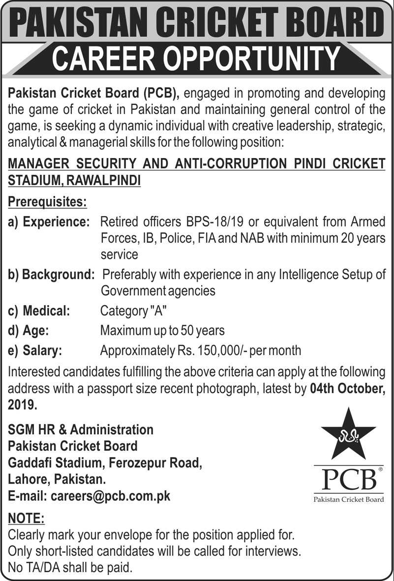 Pakistan Cricket Board PCB JoPakistan Cricket Board PCB Jobs 2019 Apply Latestbs 2019 Apply Latest