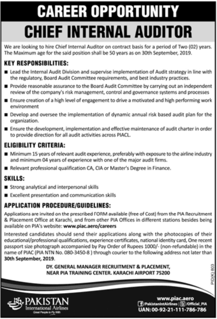 Pakistan International Airlines PIA Jobs 2019
