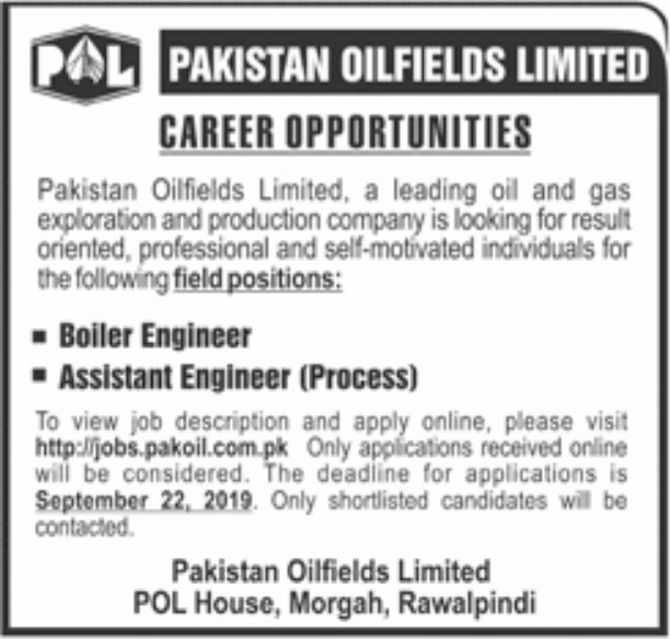 Pakistan Oilfields Limited POL Jobs 2019 Apply Online