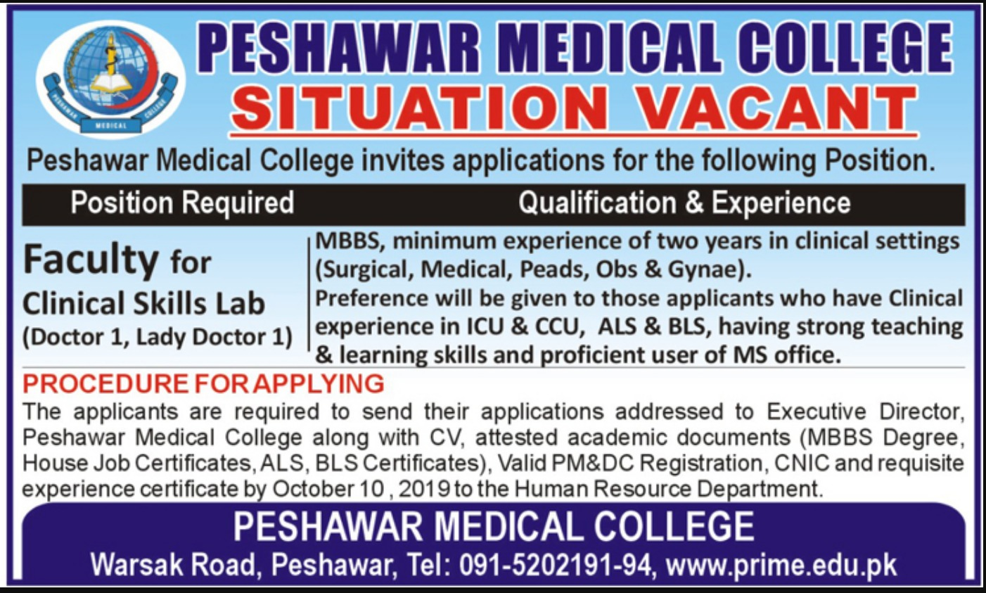 Peshawar Medical College Jobs 2019 KPK