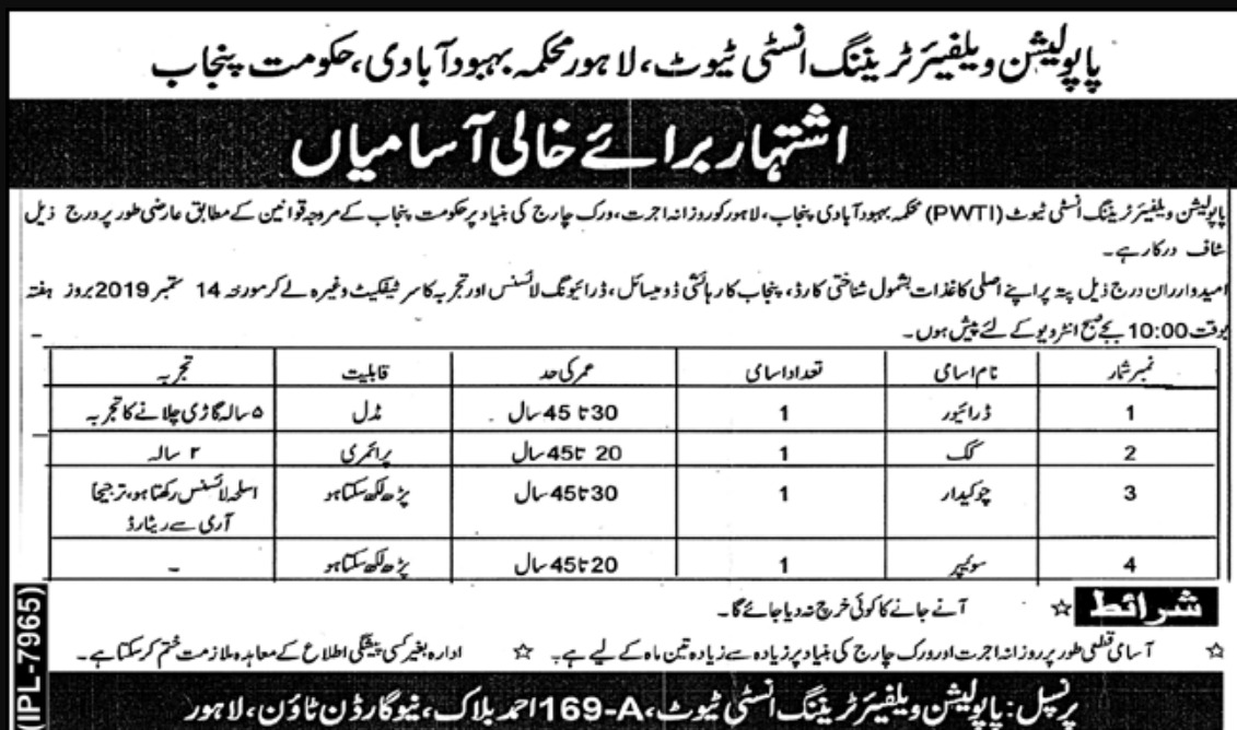 Population Welfare Department Punjab Jobs 2019