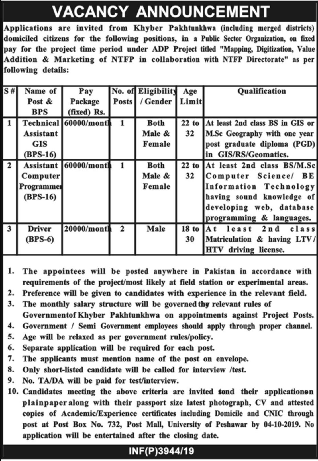 Public Sector Organization Jobs 2019 P.O.Box 732 Peshawar KPK