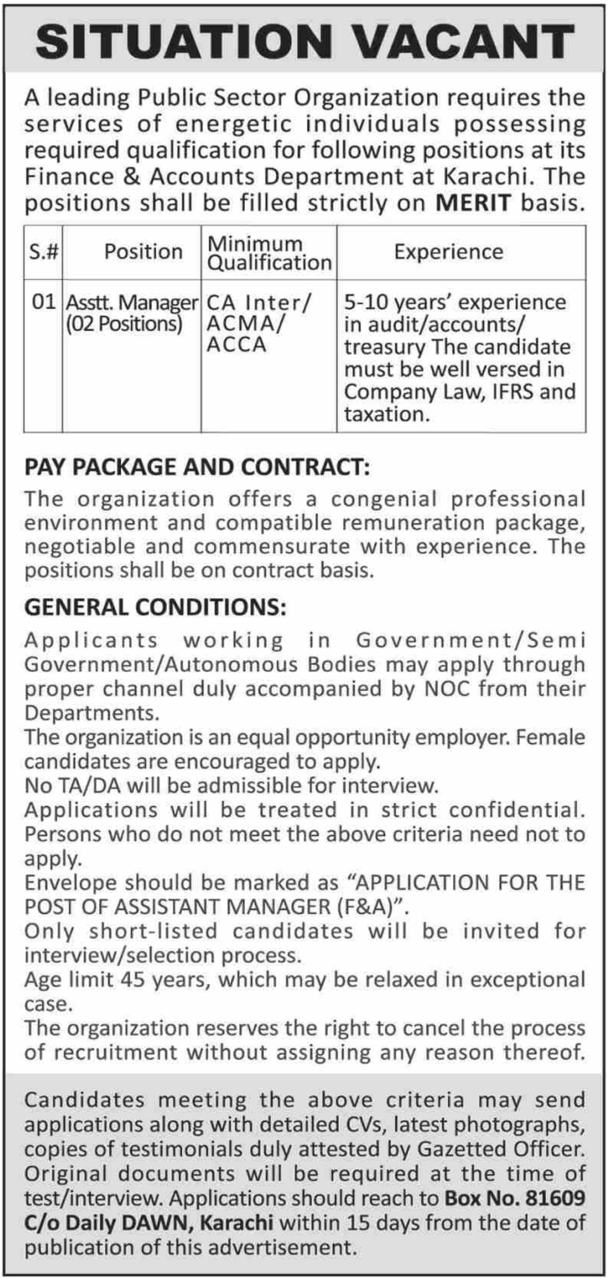 Public Sector Organization Jobs 2019 P.O.Box 81609 Karachi