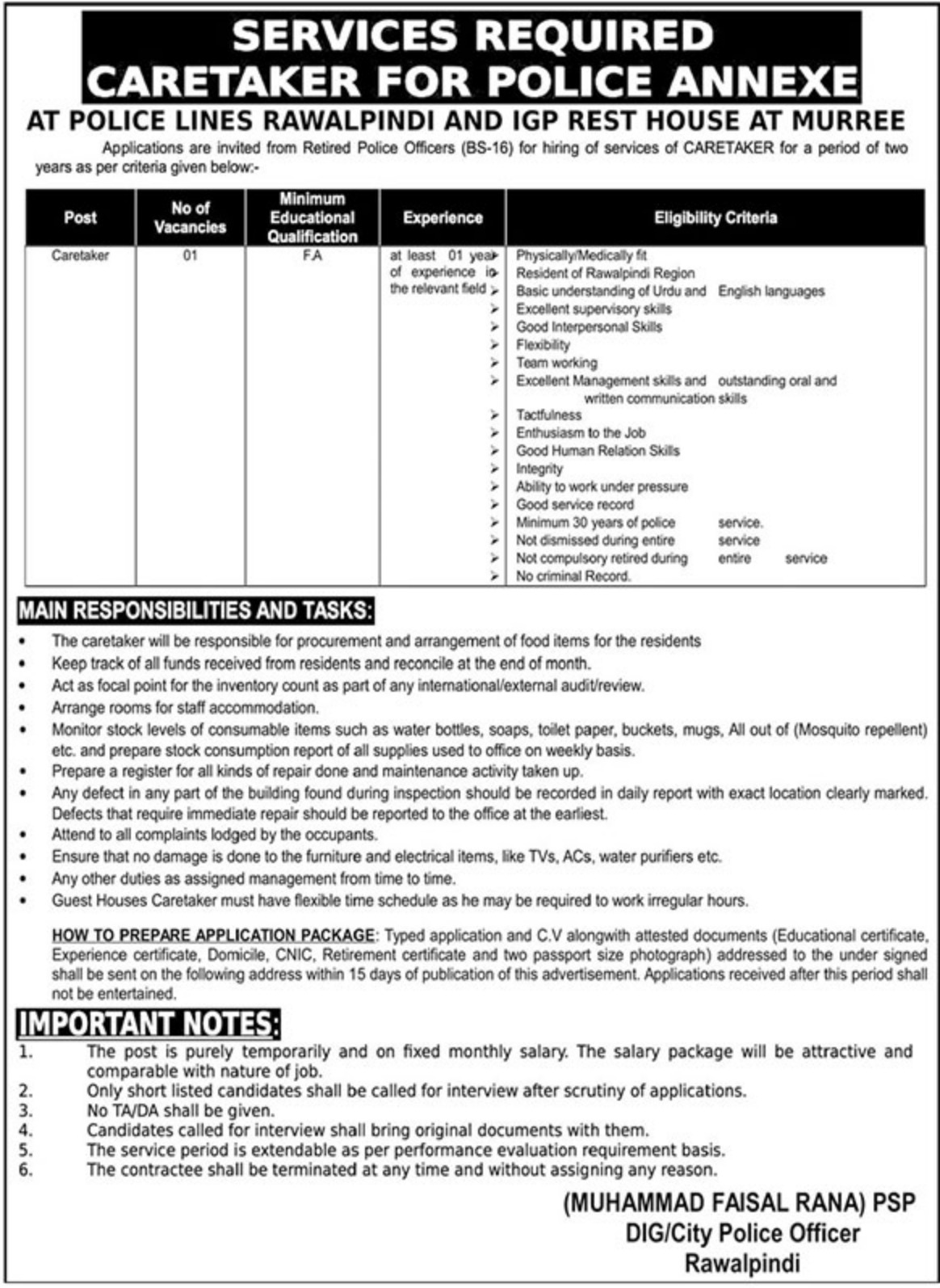 Punjab Police Jobs 2019 Caretaker for Police Annexe