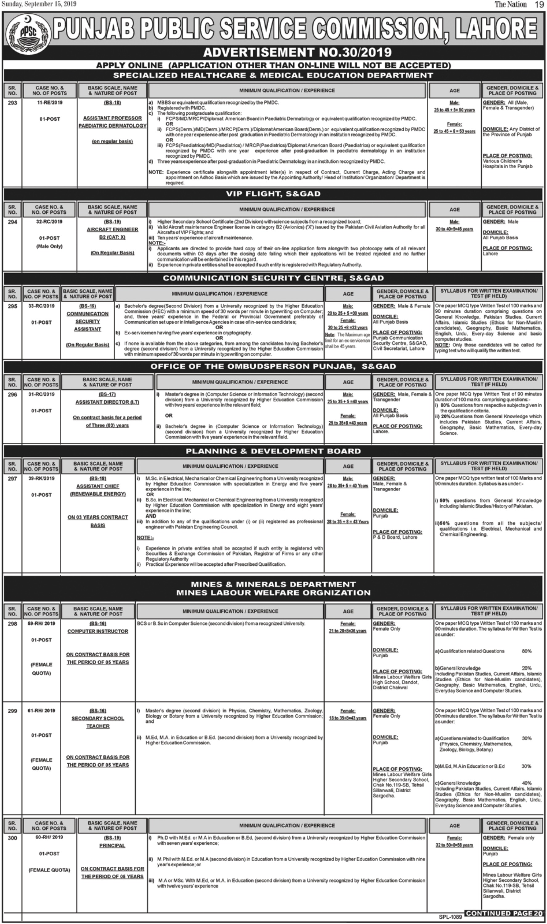 Punjab Public Service Commission PPSC Jobs 2019 Online Apply