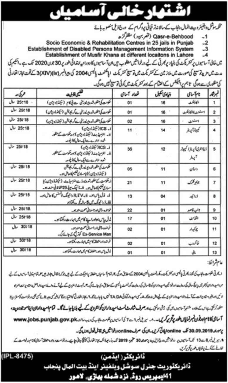 Social Welfare & Bait-ul-Maal Department Punjab Jobs 2019 Apply Online