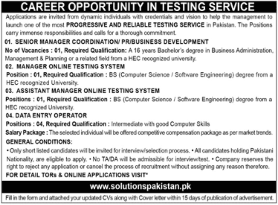 Solutions Pakistan Jobs 2019 Testing Service