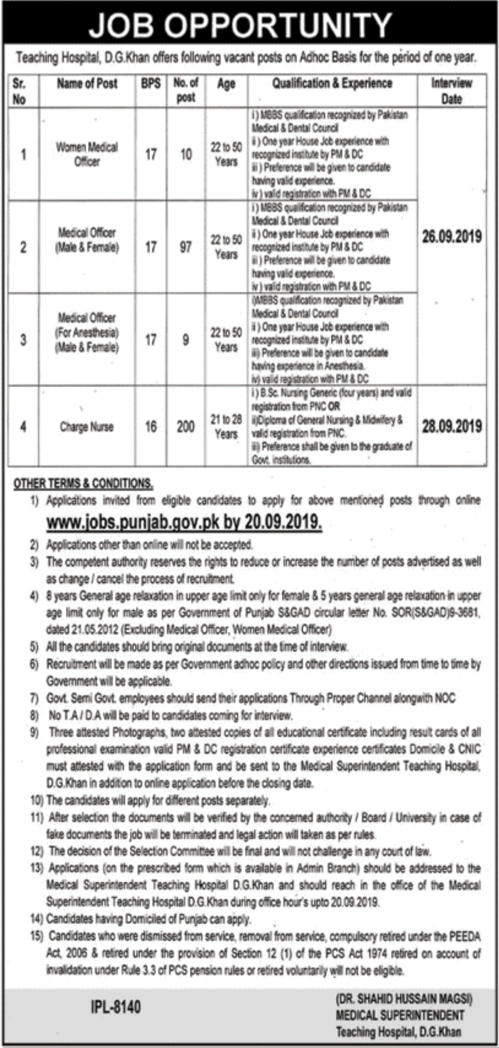 Teaching Hospital D.G. Khan Jobs 2019 Apply Online
