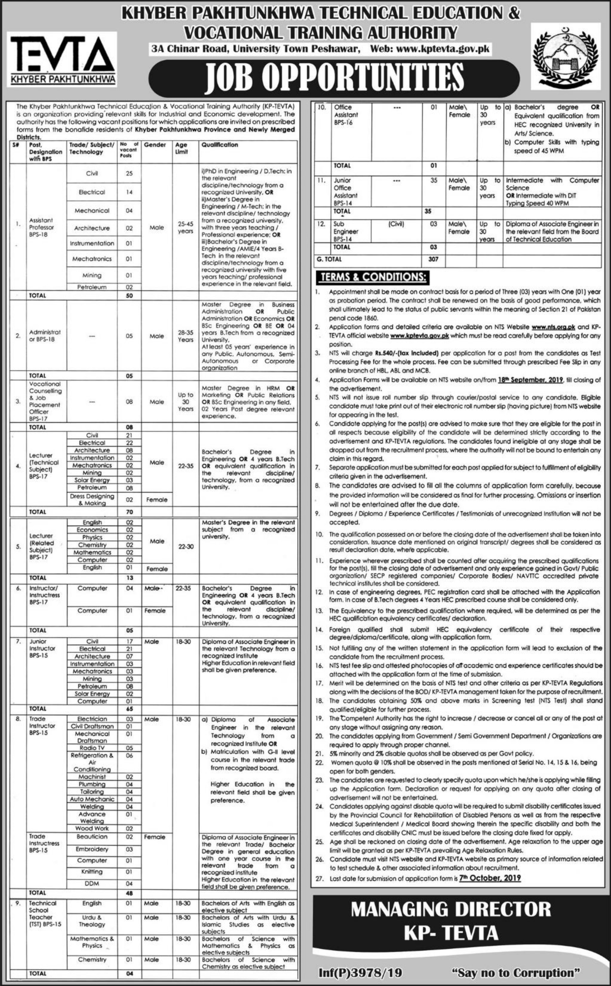 Technical Education & Vocational Training Authority KPTEVTA Jobs 2019