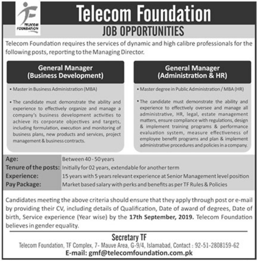Telecom Foundation Jobs 2019 Pakistan