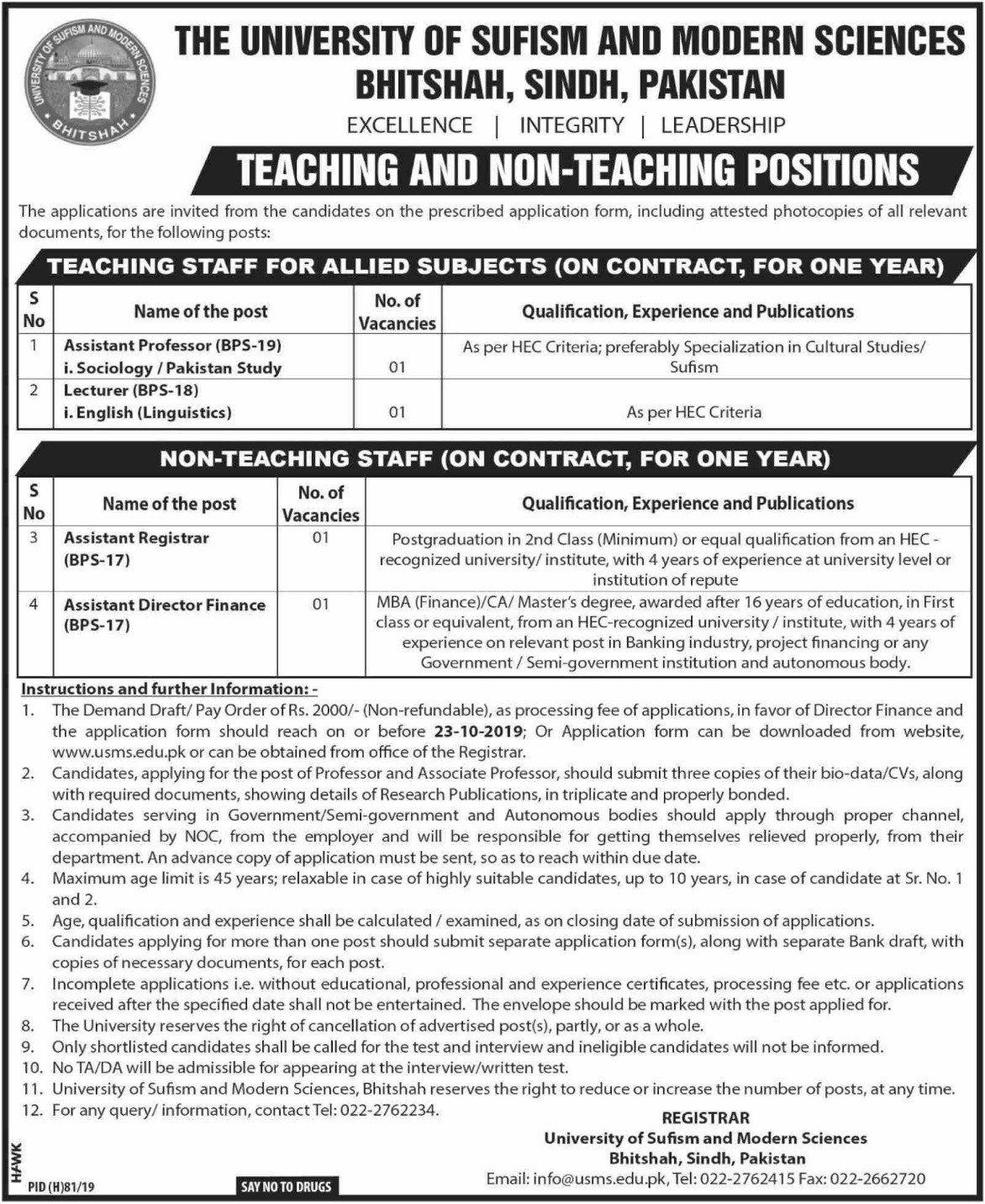 The University of Sufism & Modern Sciences Bhitshah Jobs 2019 Sindh