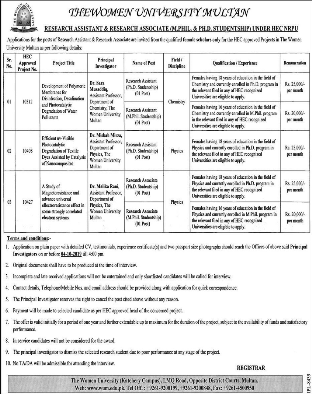 The Women University Multan WUM Jobs 2019