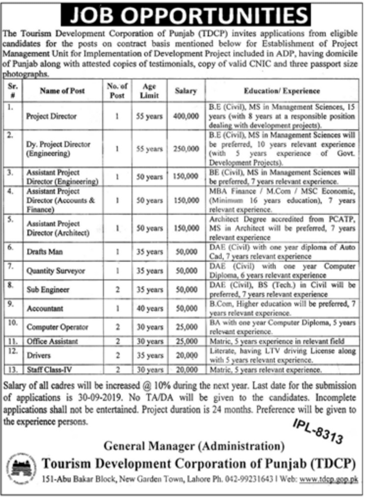 Tourism Development Corporation of Punjab TDCP Jobs 2019