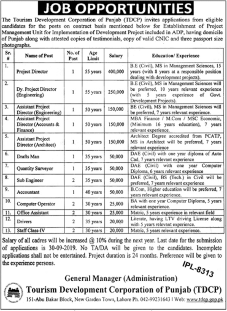 Tourism Development Corporation of Punjab TDCP Lahore Jobs 2019