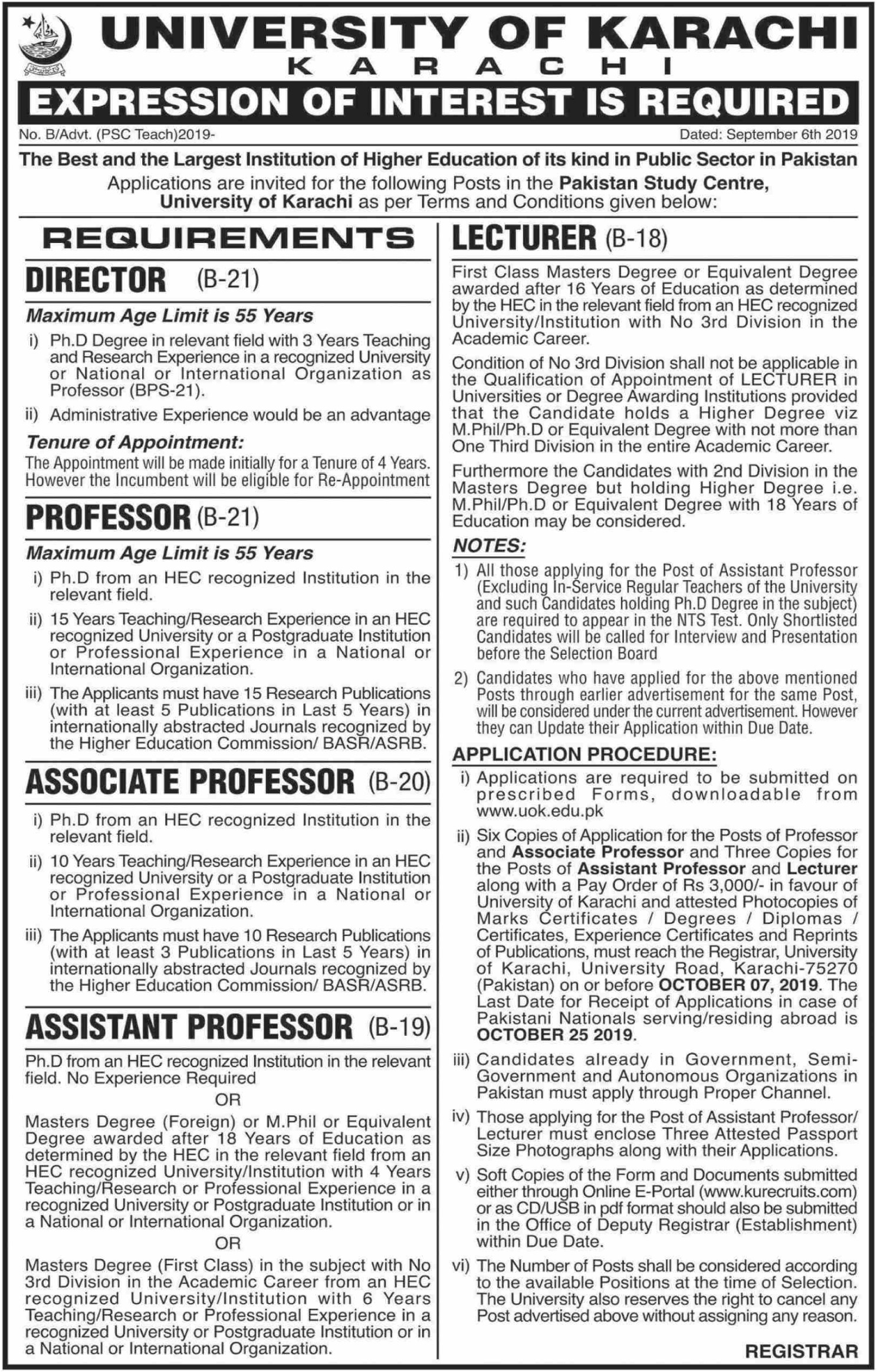 University of Karachi Jobs 2019 Sindh