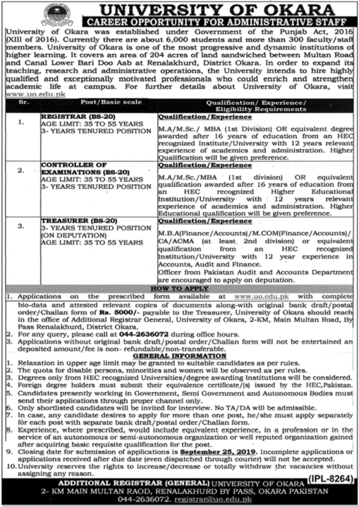 University of Okara Jobs 2019 Application Form