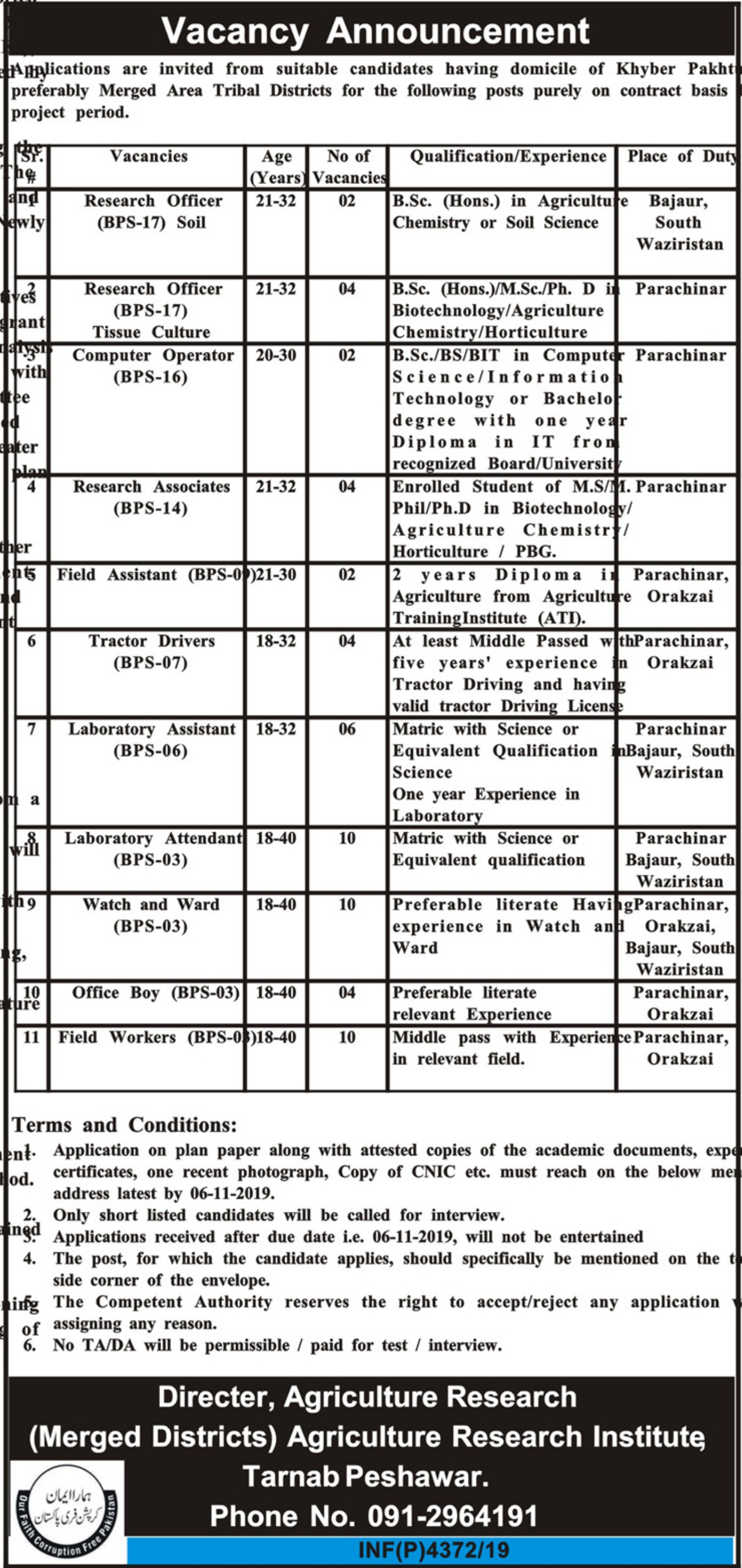 Agriculture Department Peshawar Jobs 2019 Khyber Pakhtunkhwa